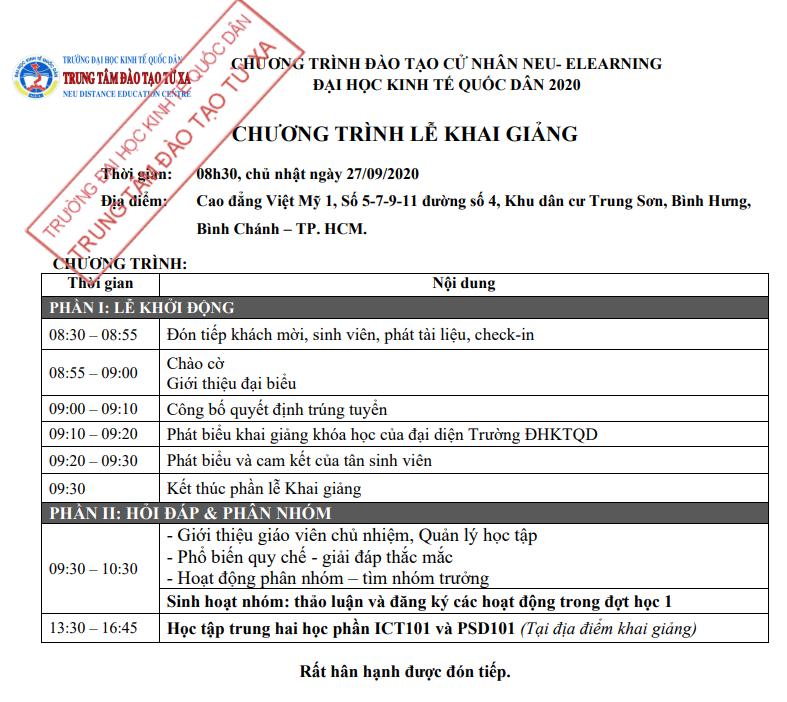 Thông báo lịch khai giảng chương trình cử nhân trực tuyến khu vực Hồ Chí Minh tháng 9 năm 2020