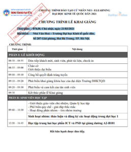 THÔNG BÁO: Chương trình lễ khai giảng Đại học Kinh tế quốc dân hệ từ xa E-Learning ngày 21/03/2021
